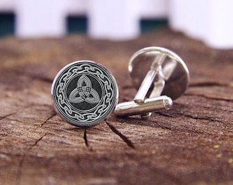 Silver Celtic Cufflinks, Wheel Knots And Trinity Cufflinks, Celtic, Custom Wedding Cufflinks, Groom Cufflinks, Personalized Cuff Links