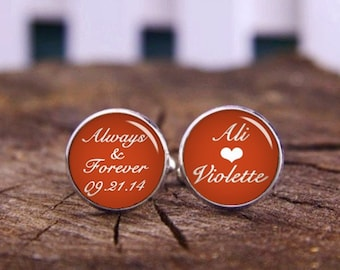 Custom Wedding Cufflinks And Tie Clips, Custom Name Or Date Cufflinks, Always And Forever Cuff Links, Custom Background & Font, Orange Gifts