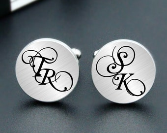 Custom Personalized Monogram Cufflinks Engrave Initial Wedding Engraved Monogram Initial Cufflinks Wedding Personalized Engraved Cuff Links