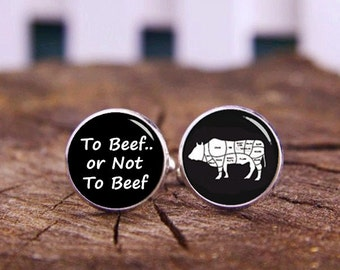 To Beef Or Not To Beef Cufflinks, Funny Quote Cufflinks, Cattle Cufflinks, Custom Wedding Cufflinks, Groom Cufflinks, Boeuf Tie Clips Or Set