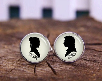 Personalized Wedding Cuff Links, Custom Date Cuff Links, Film Fans, Personalized Cufflinks, Custom Wedding Cufflinks, Groom Cuff Links, Gift