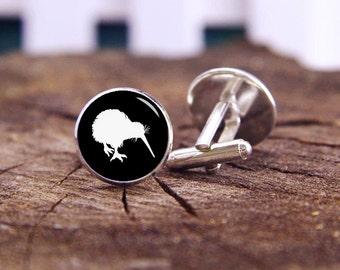 Kiwi Birds, New Zealand Kiwi Cufflinks, Kiwi Cufflinks, New Zealand Cuff Links, Custom Wedding Cufflinks, Groom Cufflinks, Tie Clip, Vintage