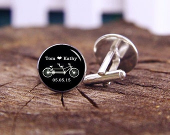 Tandem Bike Cufflinks, Double Seater Bike Cuff Links, Tandem Bicycle Cufflinks, Personalized Cuff Links, Custom Wedding Cufflinks Groom Gift