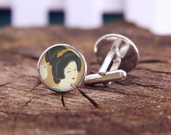 japanese vintage beauty geisha cufflinks, cool cufflinks, geisha cuff links, custom wedding cufflinks, groom cufflinks, tie bars or set