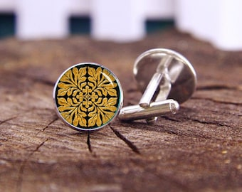 Ancient english tile cufflinks, shiny bright gold, tile cuff links, ancient cuff, custom wedding cufflinks, groom cufflinks, tie bars or set