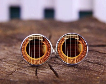 Acoustic Guitar Cufflinks, Guitar Cufflinks, Custom Musical Instrument Cuff Links, Personalized Cufflinks, Custom Wedding Cufflinks, Tie Bar