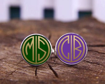 Monogram Cufflinks, Custom Wedding Cufflinks, Tie Clip, 1920s Style, Initial Cufflinks, Groom Gifts, Groomsman Cufflinks, Custom Background
