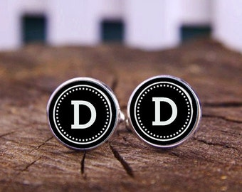 Wedding Cufflinks, Monogram Cufflinks, Black And White Cuff Links, Custom Fonts Or Background Cuff links, Custom Wedding Cufflinks, Tie Clip