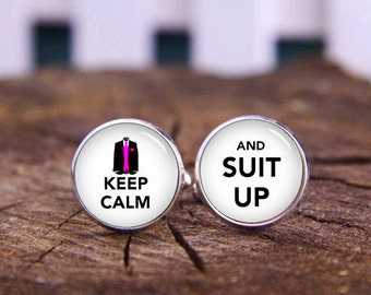 Suit Up Cufflinks, Keep Calm And Suit Up Cuff Links, Custom Keep Calm Cufflinks, Groom Cufflinks, Lovers, Wedding Cufflinks, Tie Clip Or Set