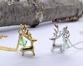 6ee3b0404281b0 Delicate necklace with a deer gilded silver and white costume jewelry  hunting gift huntsman forest forester Swarovski ® crystal green luluchicde