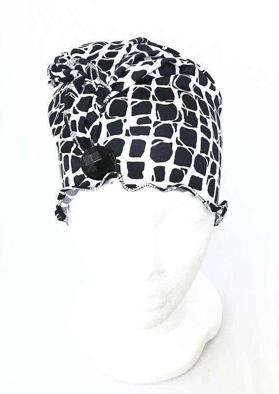 97486951a9c Chemo headwearblack and white chemo hatchemo beanie