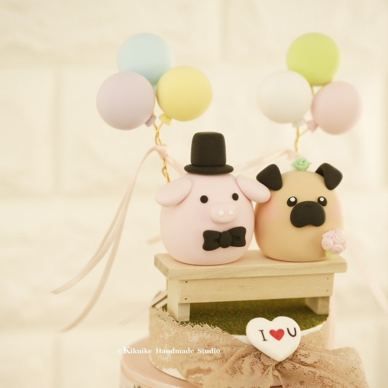 Pig And Pug Wedding Cake Topper Piget And Pug Wedding Cake Topper