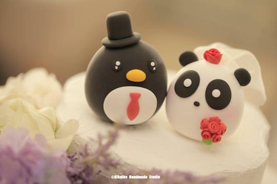 Panda and penguin wedding cake topper | Etsy