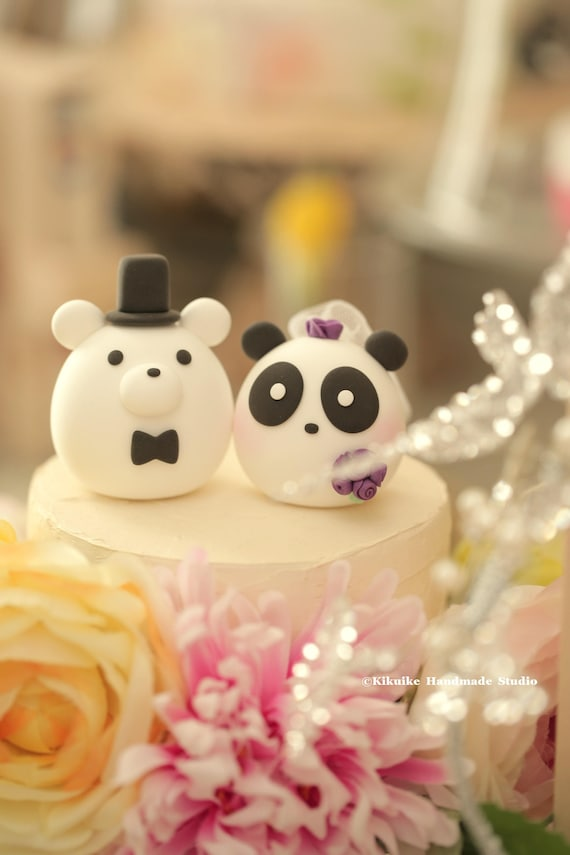 panda and bear wedding cake topper | Etsy