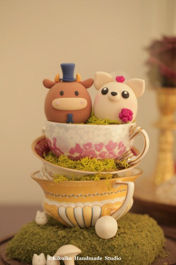 Ox and Chiwawa chihuahua wedding cake topper | Etsy
