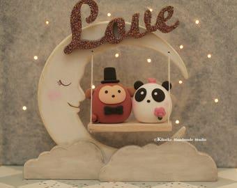 Panda and  Monkey  wedding cake topper