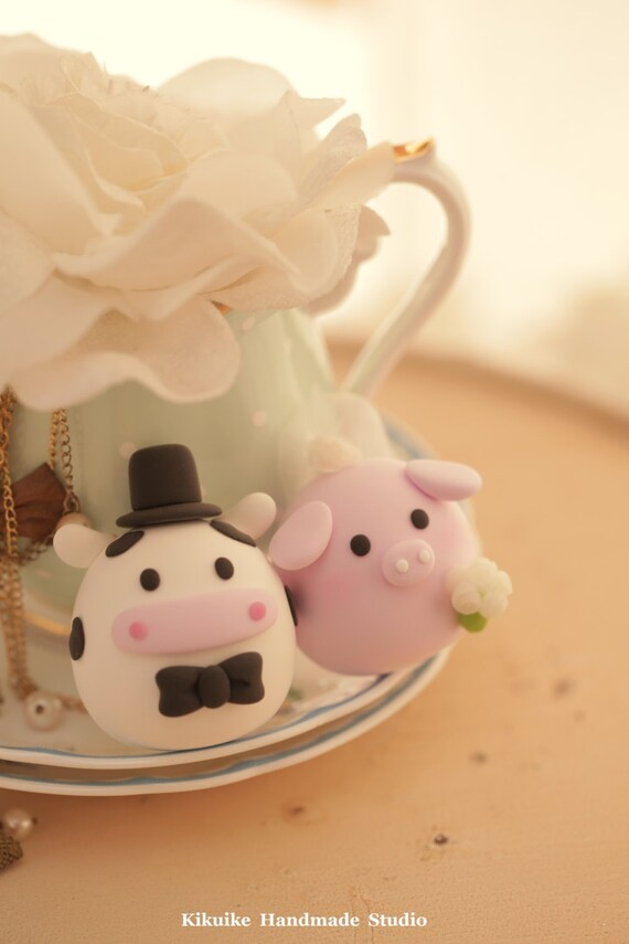 pig and cow wedding cake topper | Etsy