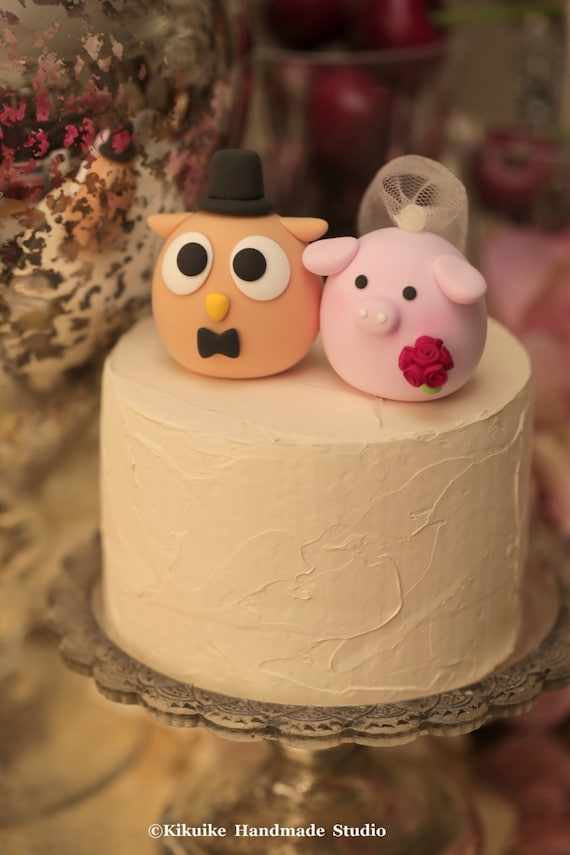 pig and owl wedding cake topper | Etsy