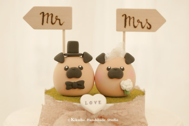 Pug Wedding Cake Topper