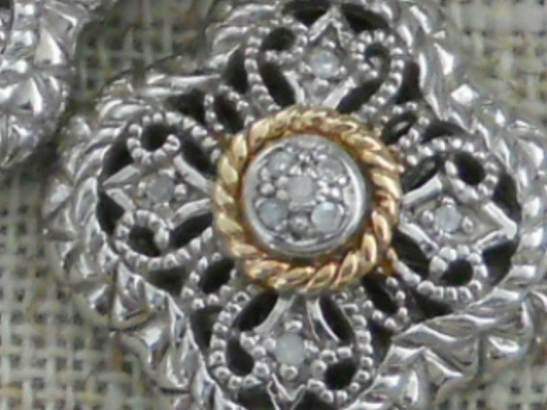 Silver and 14kt gold diamond earrings