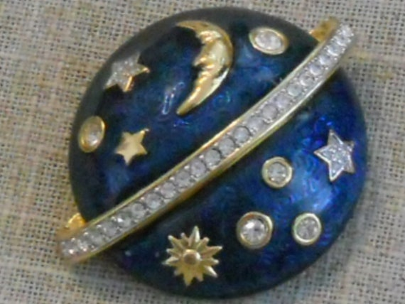 Vintage Swarovski crystal moon star planet saturn