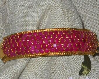 Genuine spinel and gold plated bangle bracelet