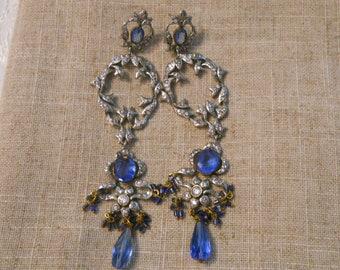 Long vintage ornate earrings