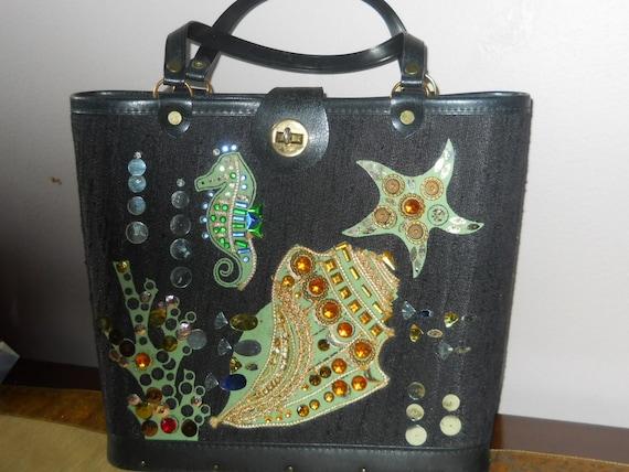 1950s vintage seahorse starfish  shell purse - bla