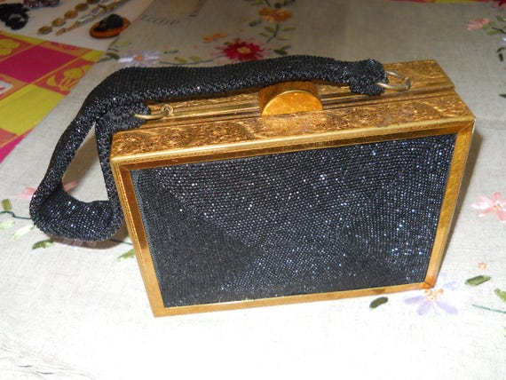 Vintage 1940s gold plated black french jet purse