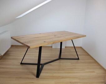 Elegant Table Chêne Massif Pieds Acier Plat Industriel Sur Mesure (avec Ou Sans  Rallonges)