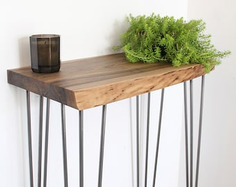 Live edge walnut console and hairpin legs
