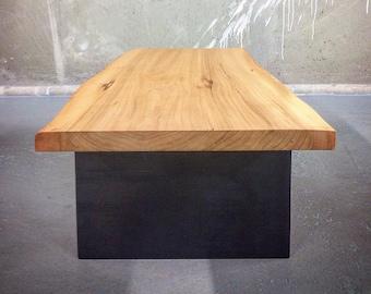Live edge Elm coffee table on steel plate legs