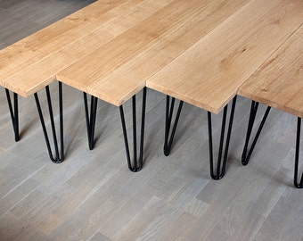 Bench in solid oak and steel hairpin legs