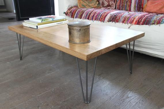 Table Basse Bois Massif Et Pied épingle Acier Vernis Sur Etsy