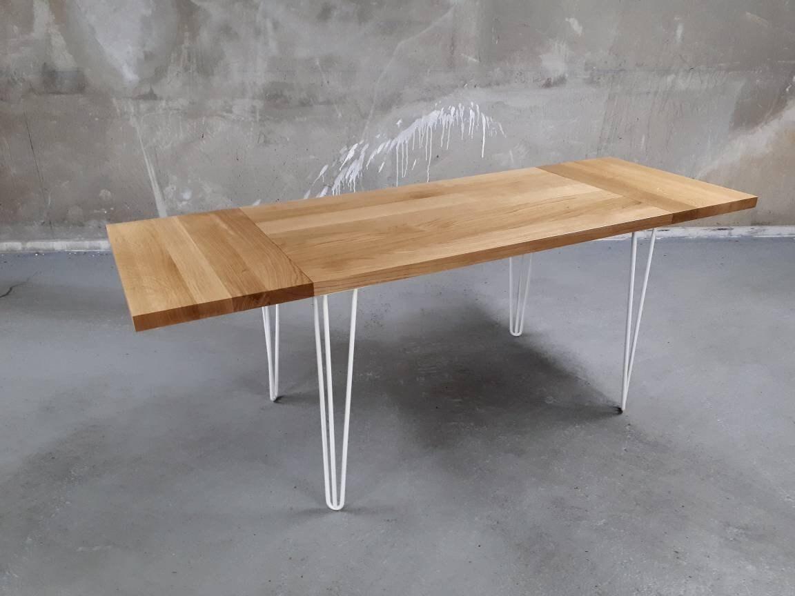 Solid oak table legs extensions custom pins