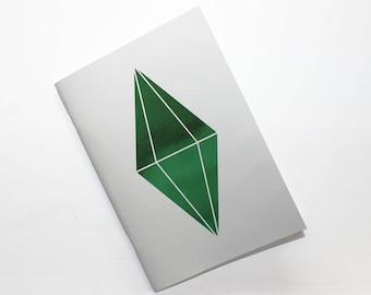 Sims Plumbob Notebook, Metallic notebook, gamer girl, gaming notebook, travelers notebook insert, dot grid journal, The Sims planner