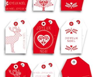 Labels tags Noël Scandinavian - set of 8 gift tags scrapbooking