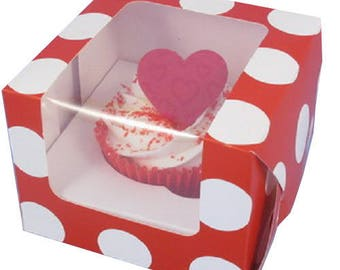 Red with white dots with window cupcake box