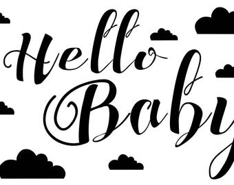Wooden rubber stamp Hello Baby