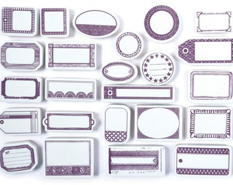 Tampons étiquettes - Set de tampons scrapbooking  - Aladine
