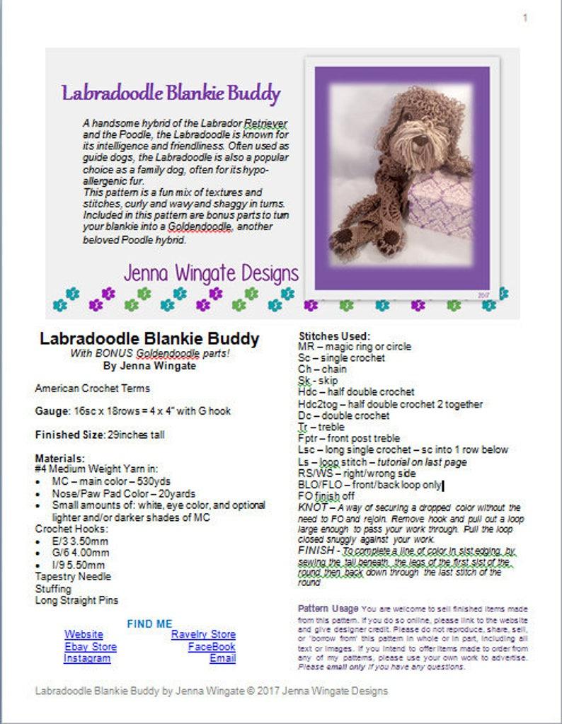 966615735fe3 Labradoodle Blankie Buddy Crochet Pattern // Bonus | Etsy