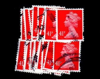 25 used Carmine Rose G.B. Postage Stamps