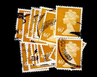 25 used Dark Olive Bister G.B. Postage Stamps