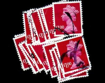 25 used Cerise G.B. Postage Stamps