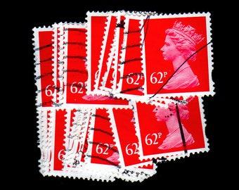 25 used Carmine G.B. Postage Stamps