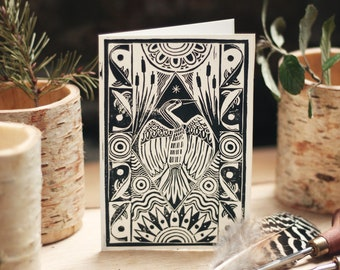 3 Hand Printed Lino-cut Cards - A6, Heron * Original Prints *