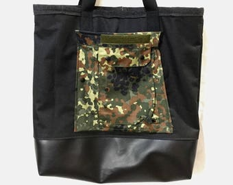 Tote Bag with outer Salvage German Camo Pocket, inner black denim pocket, and lined with Neoprene