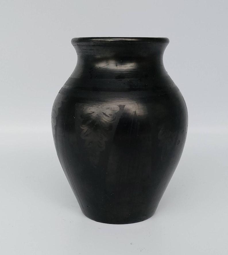 5 Inch Black On Black Pottery Blackware Jar Signed San Ildefonso Pueblo Blackware Pottery Olla Mexican Pot Native American Pottery