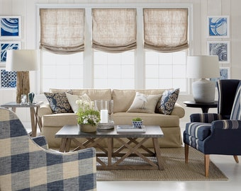 """Relaxed Roman Shades, Luxury European Relaxed 100% Linen """"Tuscany"""", linen roman shades with chain mechanism, custom window treatment"""