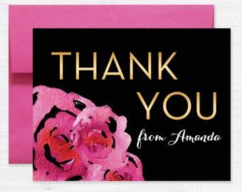 Pop Fizz Clink Thank You Card SIZE A1, Pop Fizz Clink Floral Wedding Shower, Bridal Shower Thank You, Gold Bride to be
